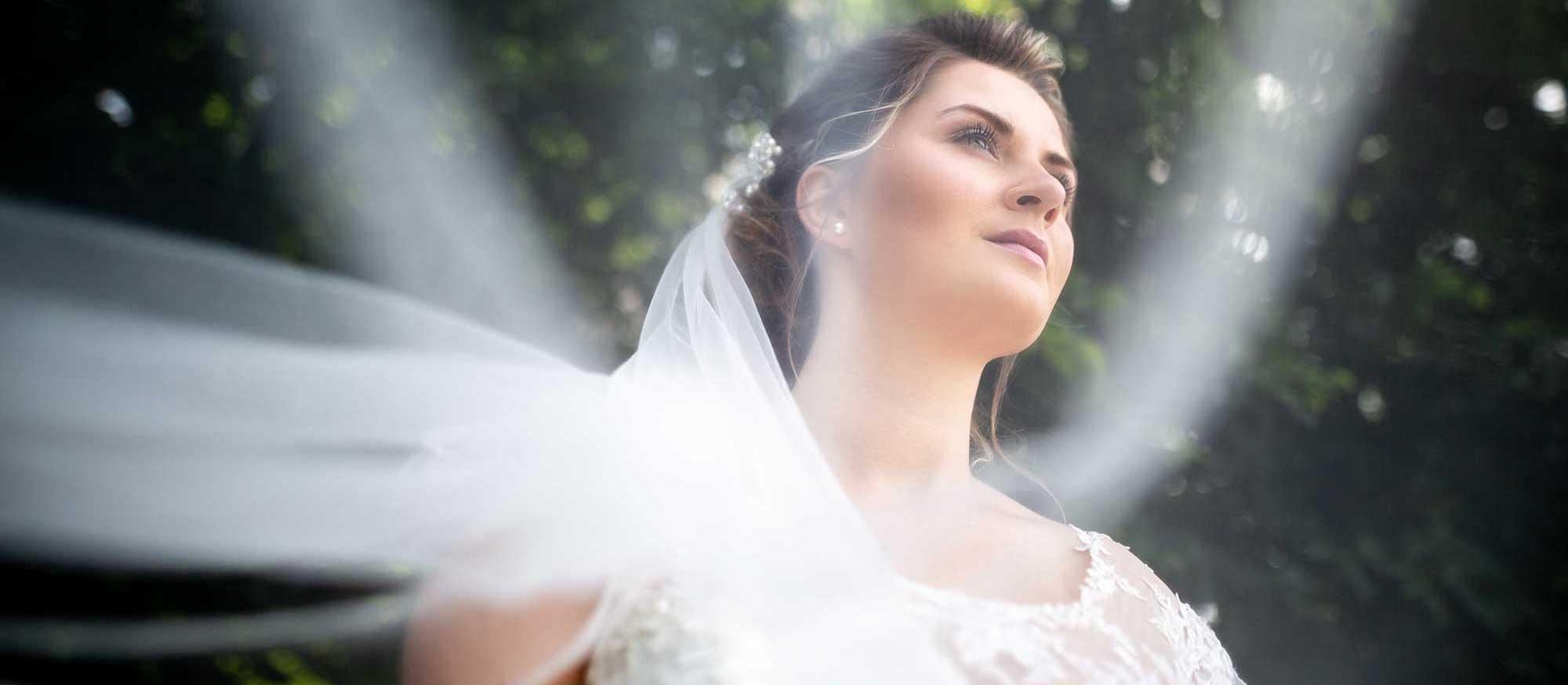 Hochzeitsfotograf in Stuttgart und Umgebung Braut alleine mit Schleier